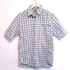 REI MENS SZ SMALL BUTTON FRONT HIKING CAMP SHIRT